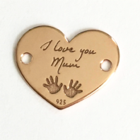 18K Rose Gold Plated Sterling Silver I Love You Mum Heart Charm